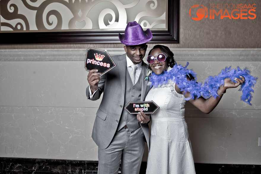 Smile Photo Booth, Bride and Groom with funny signs
