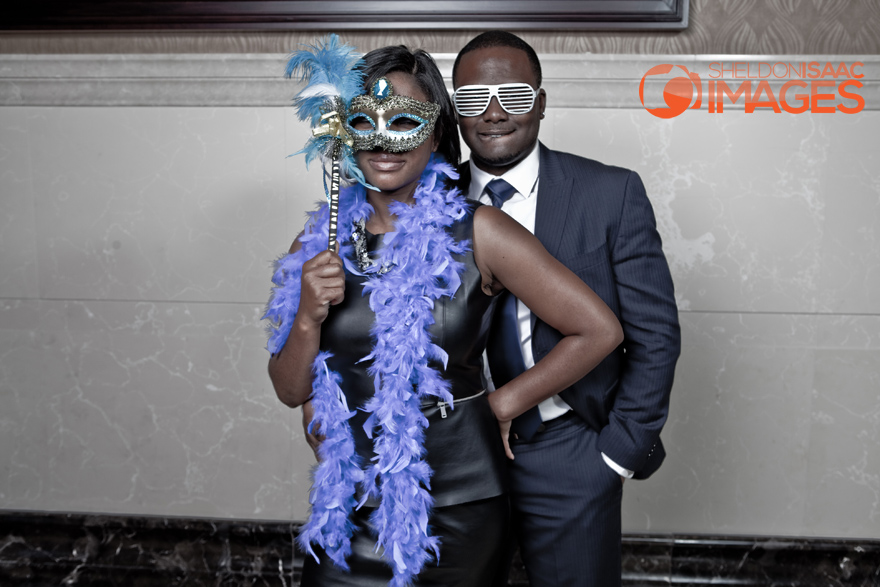Smile Photo Booth, couple posing with masks