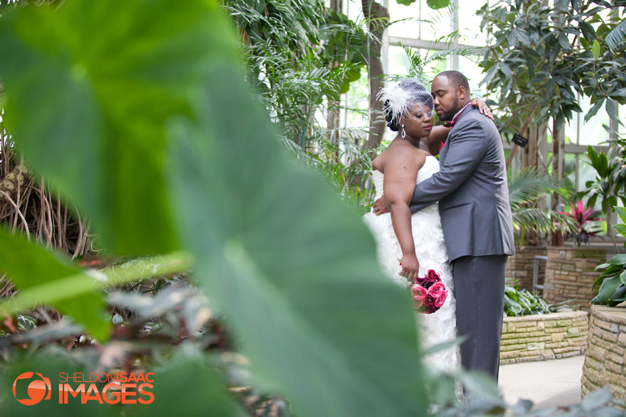 Groom holding the Bride in the Green House