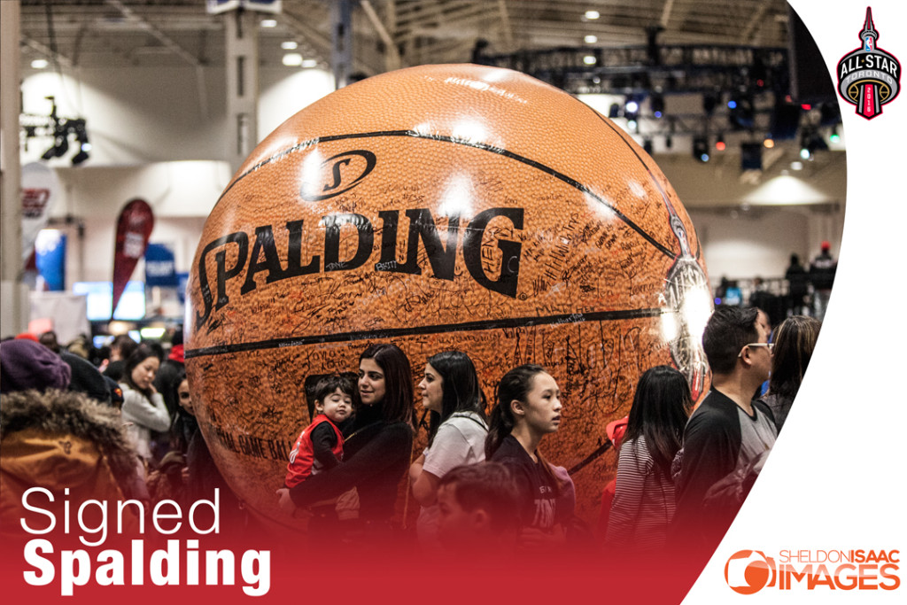 Giant Basketball signed by fans at NBA All Star weekend in Toronto