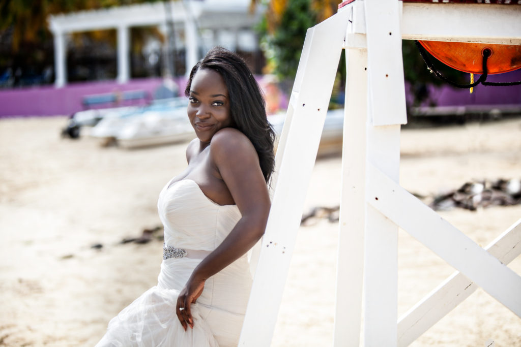 Trash the Dress Shoot Bride Smiling on the beach