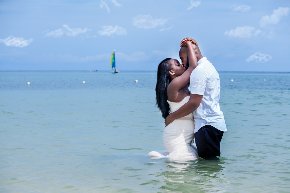 Bride and Groom Trash the dress in Montego Bay Jamaica