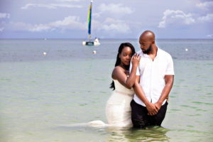 Bride and Groom on the Beach in Jamaica