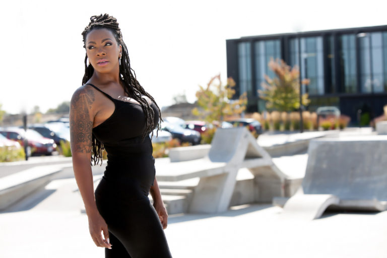 Speaker Makini Smith modelling at the Audley Recreation Centre in Ajax