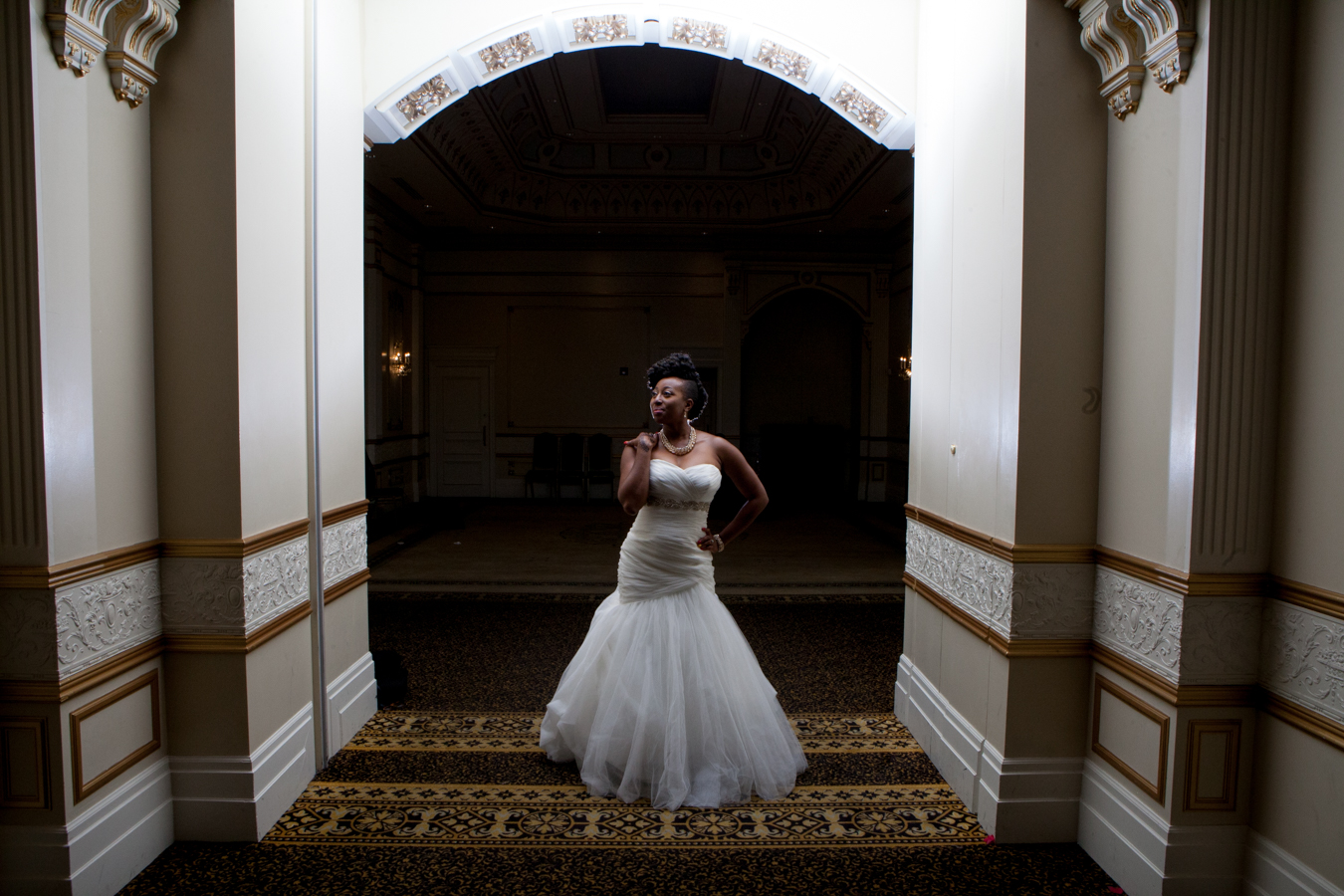 Bride poses during the wedding reception at The Venetian Banquet Centre in Vaughan