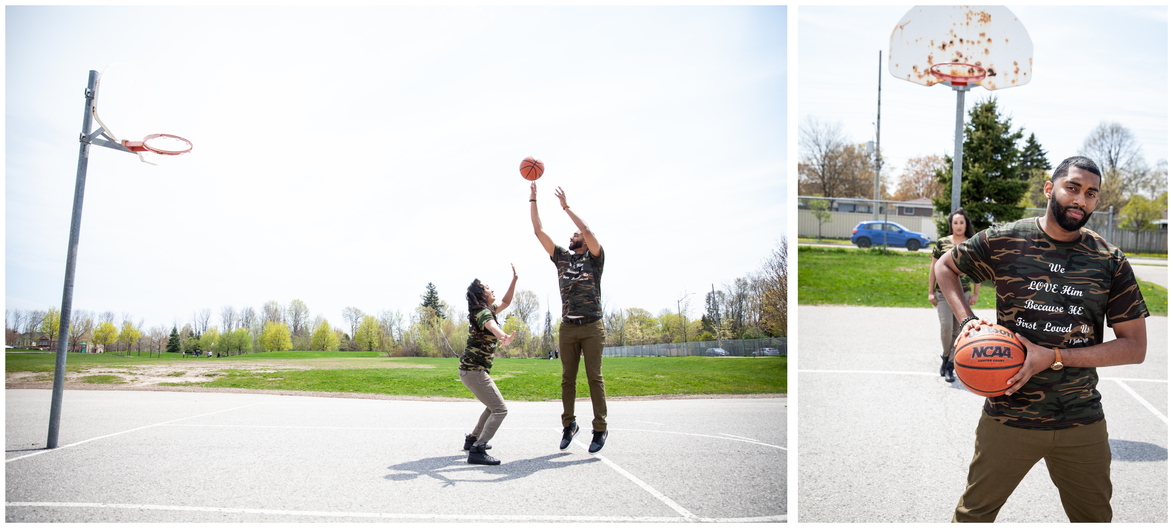 Couple playing basketball during their engagement shoot in Ajax