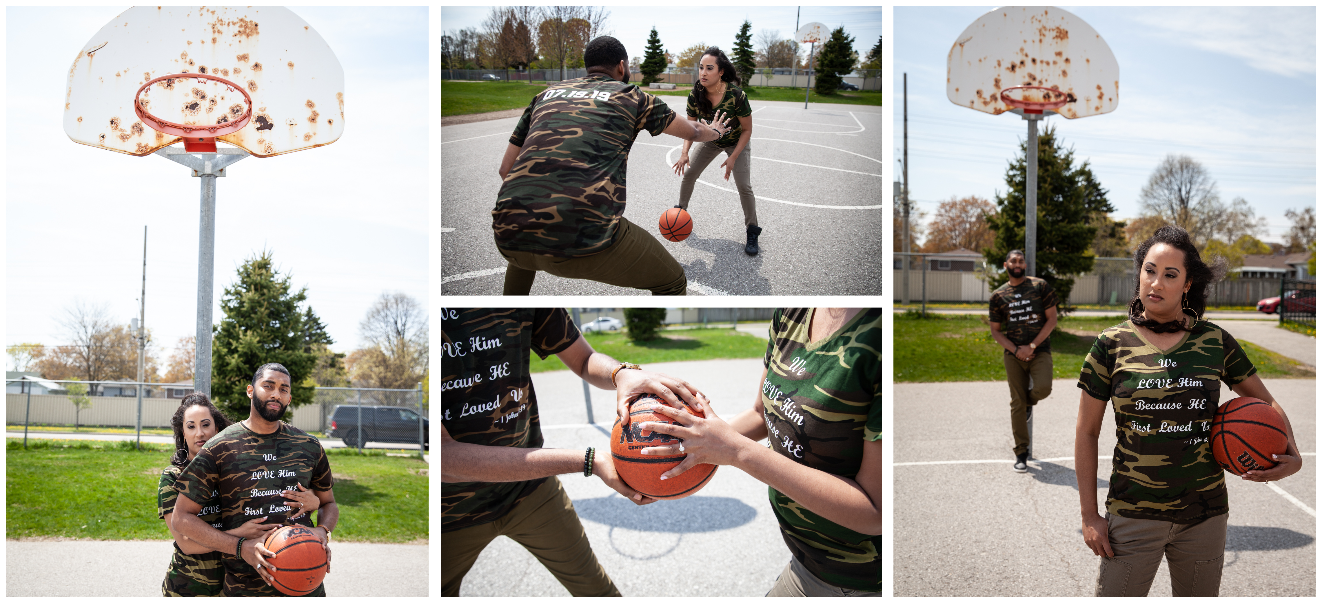 Basketball game during an engagement photoshoot in Ajax