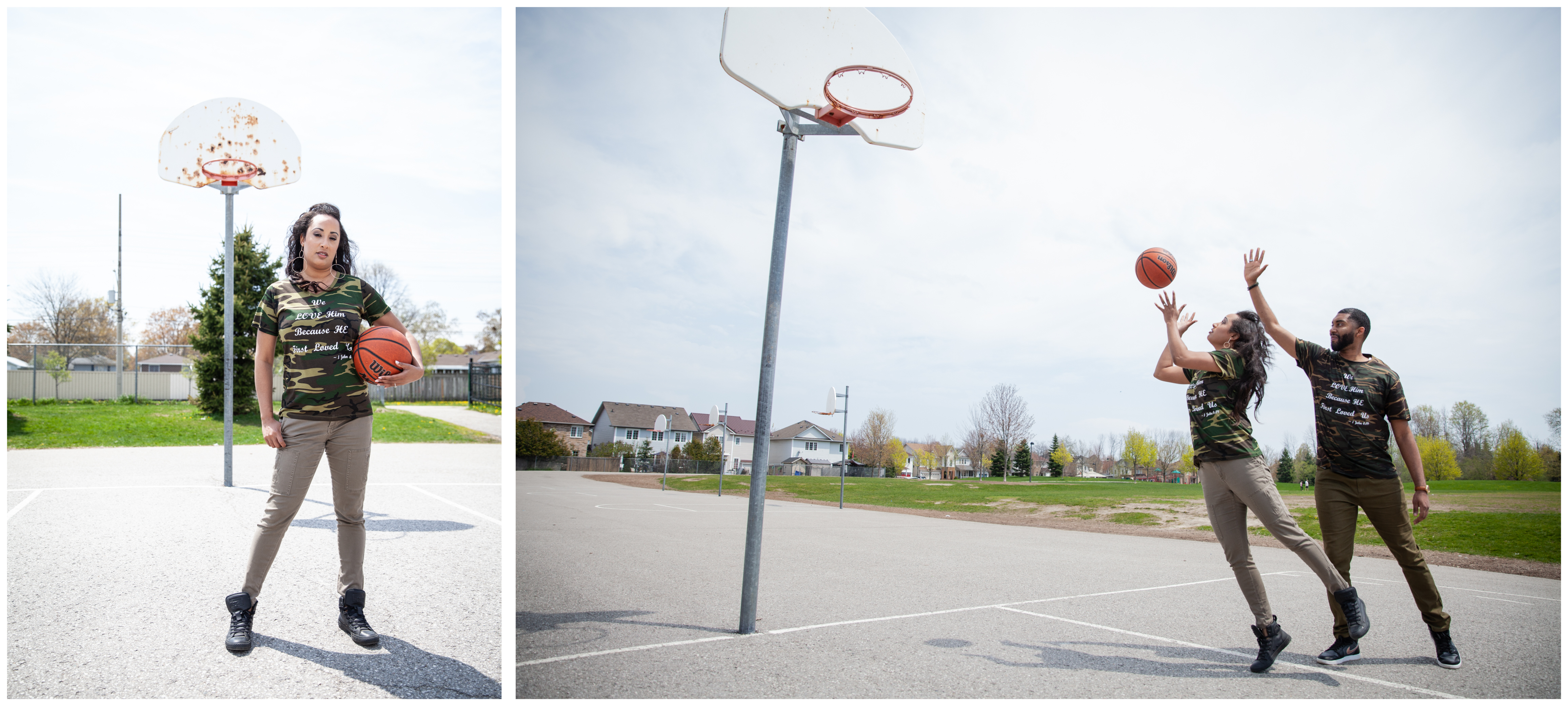 Engaged couple playing basketball in Ajax