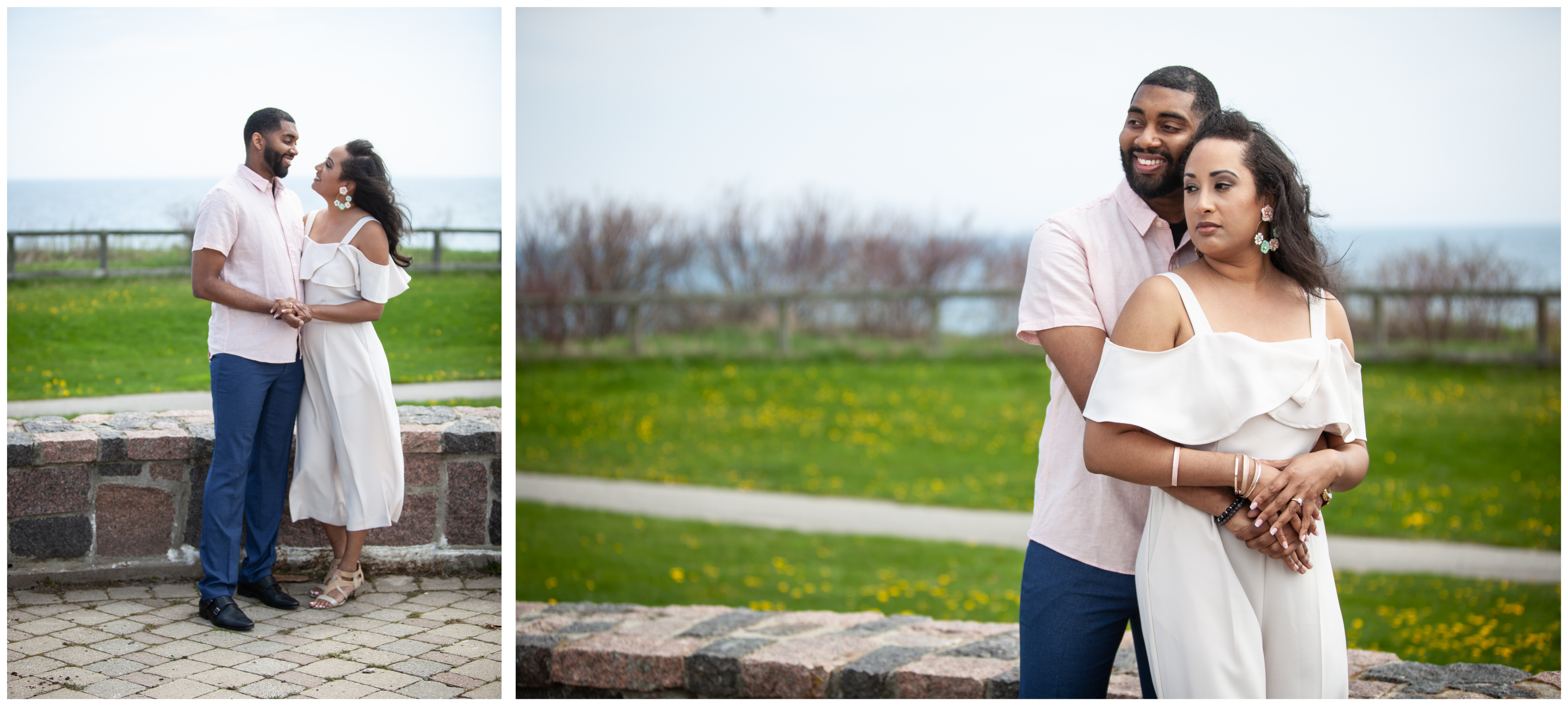 Couple hugging at Ajax's Lakeside Park during their Engagement Session