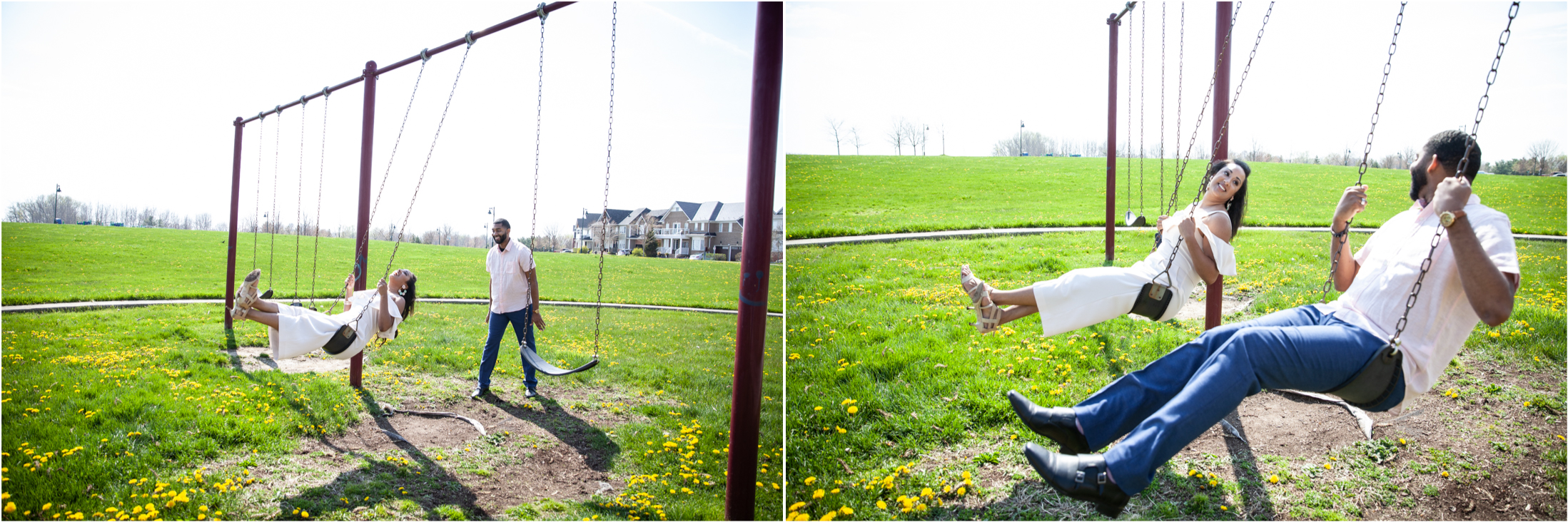 Engagement session photo of a couple on the playground swing set at Ajax's Lakeside Park