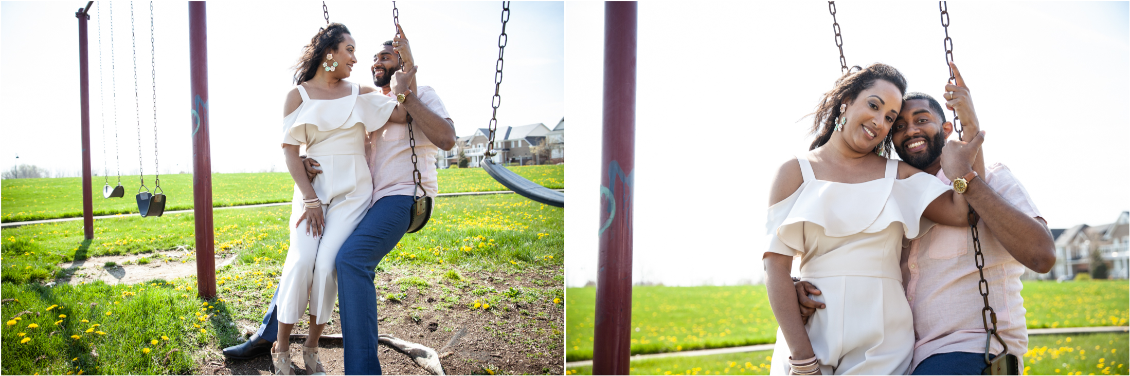 Engagement photo of a couple on the playground swing set