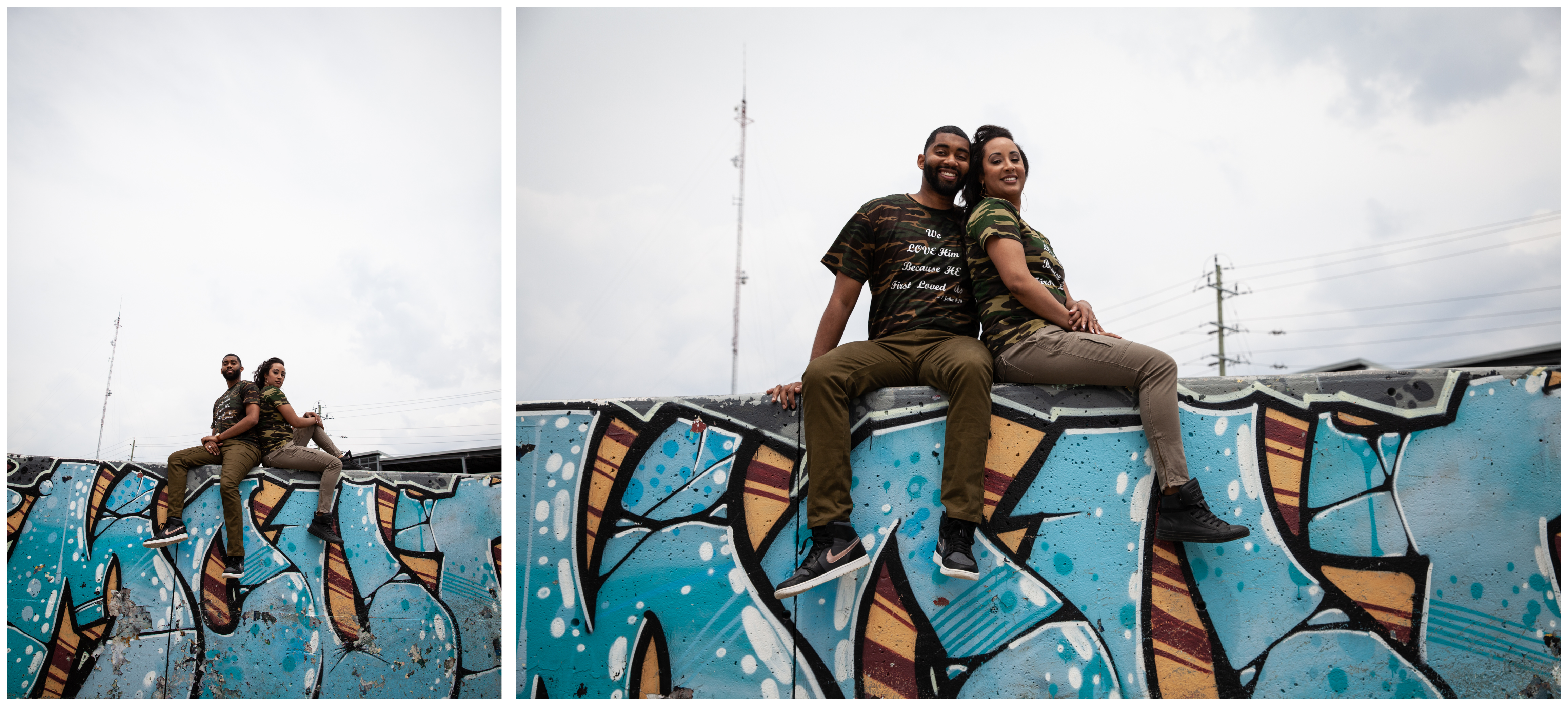 Engagement session at a graffiti wall in Whitby