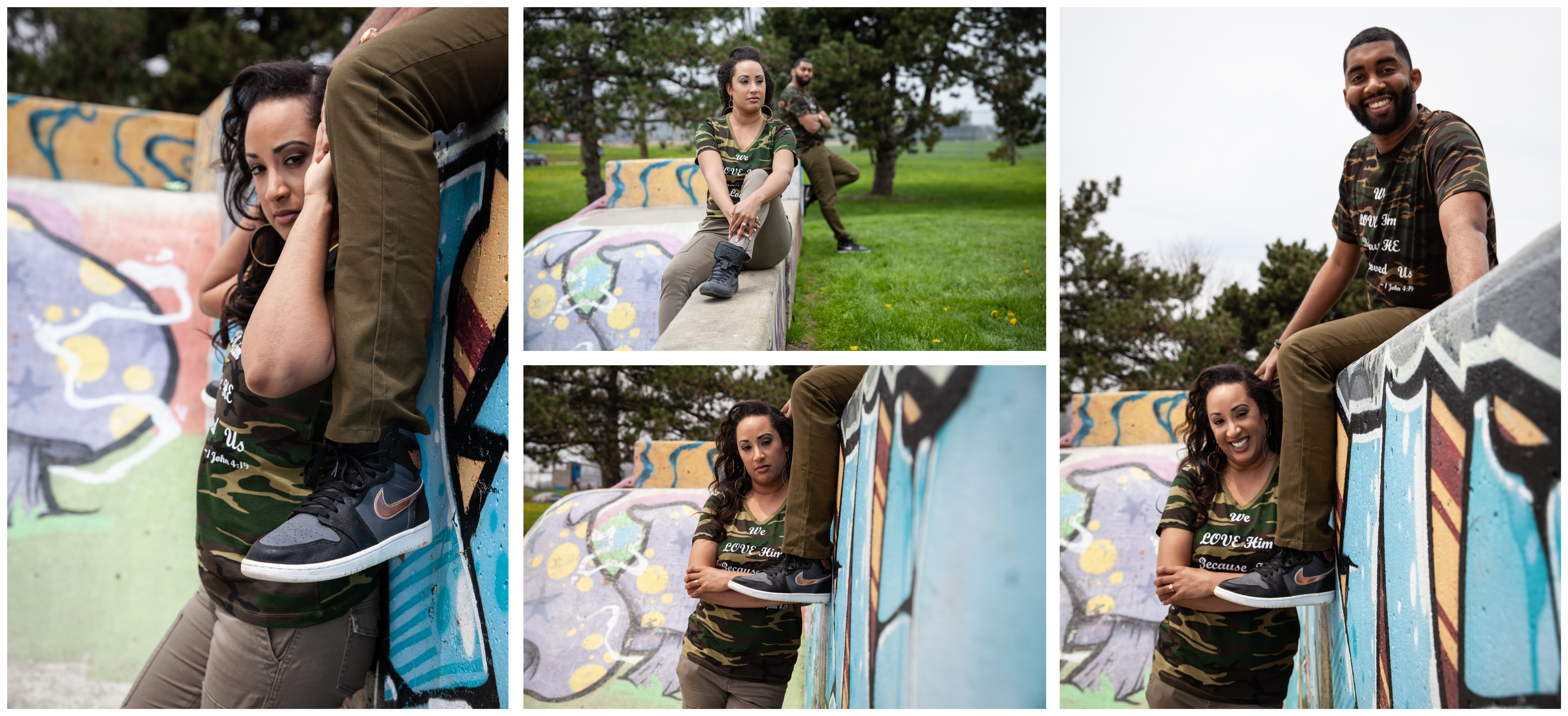 Engagement photoshoot at a Skate Park in Whitby