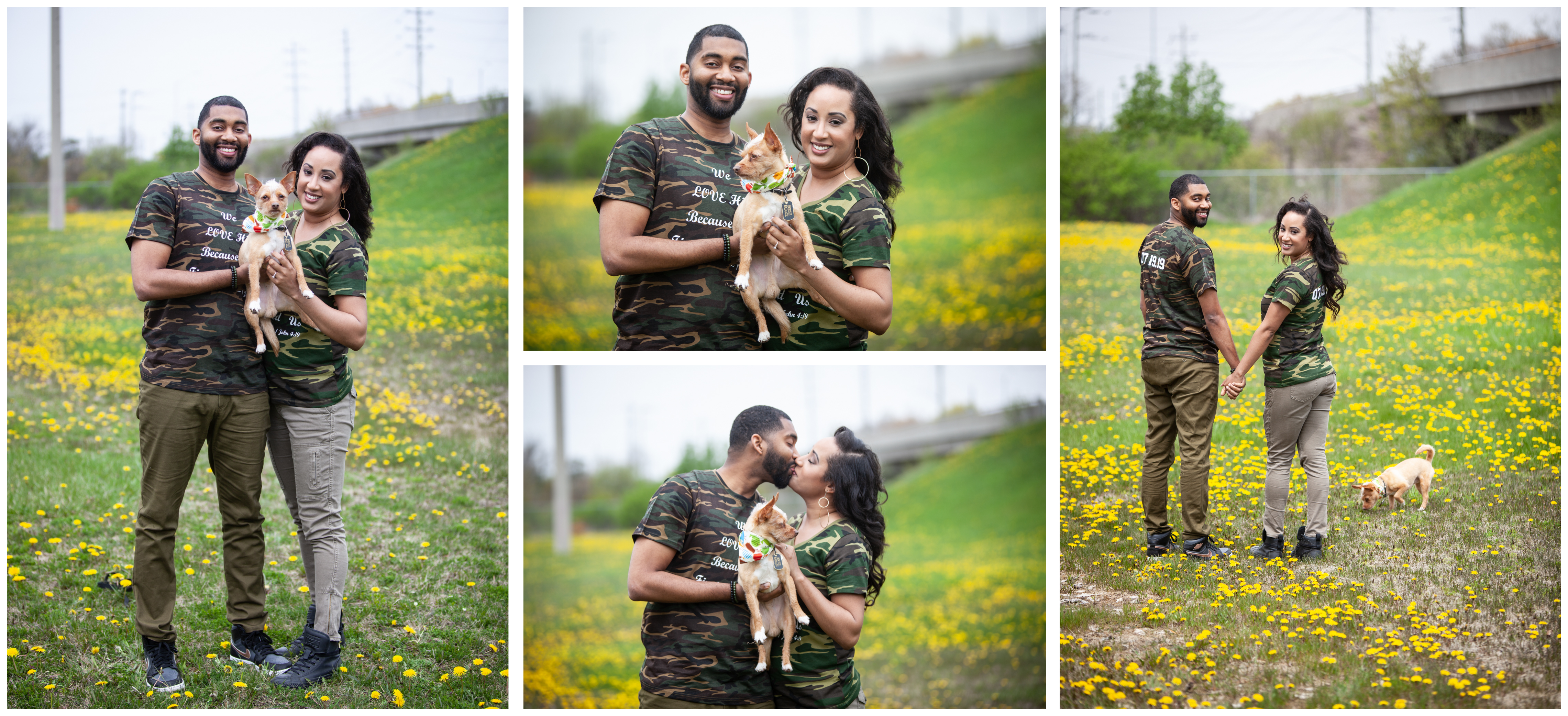 A Couple with their pet dogs during an engagement shoot in a Whitby park