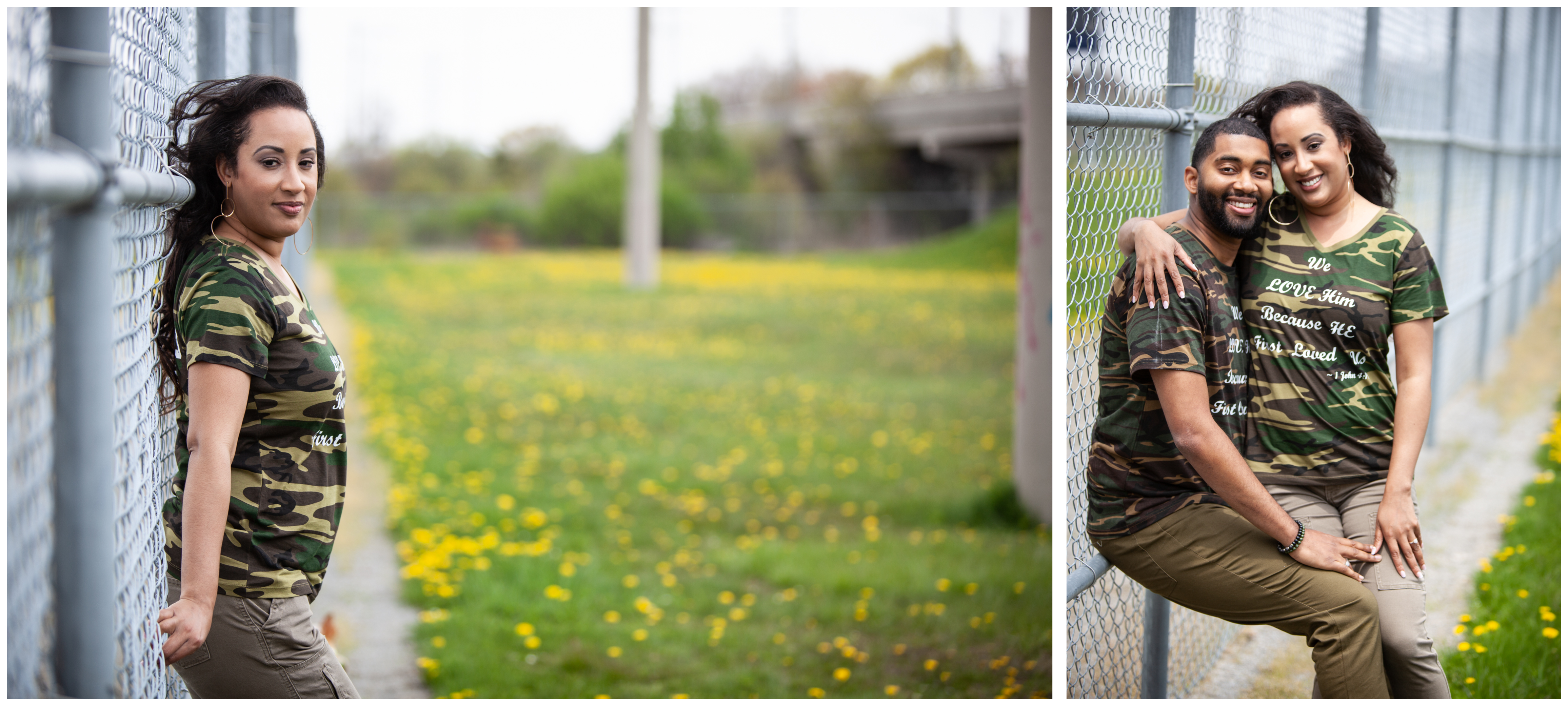 Couple at the baseball field in Whitby during an engagement session