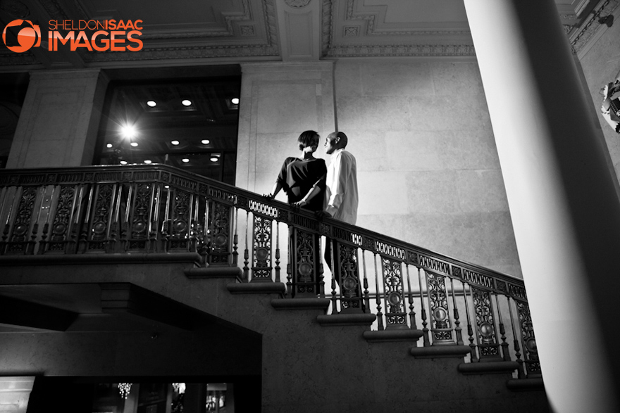 Engagement Photos Toronto One King West Hotel Couple on the stairs