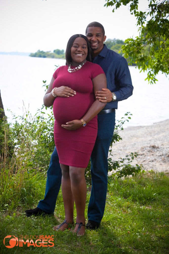 Maternity Photo happy couple hugging
