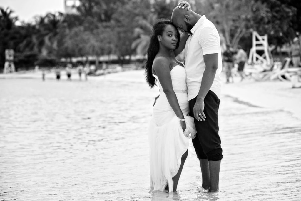 Black and white photo of Bride and Groom Trash the dress in Montego Bay Jamaica