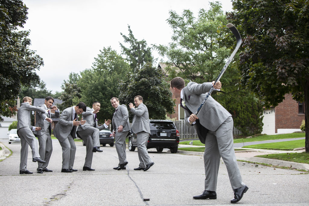 Before the wedding ceremony, the Groom has fun with his Groomsmen in Toronto