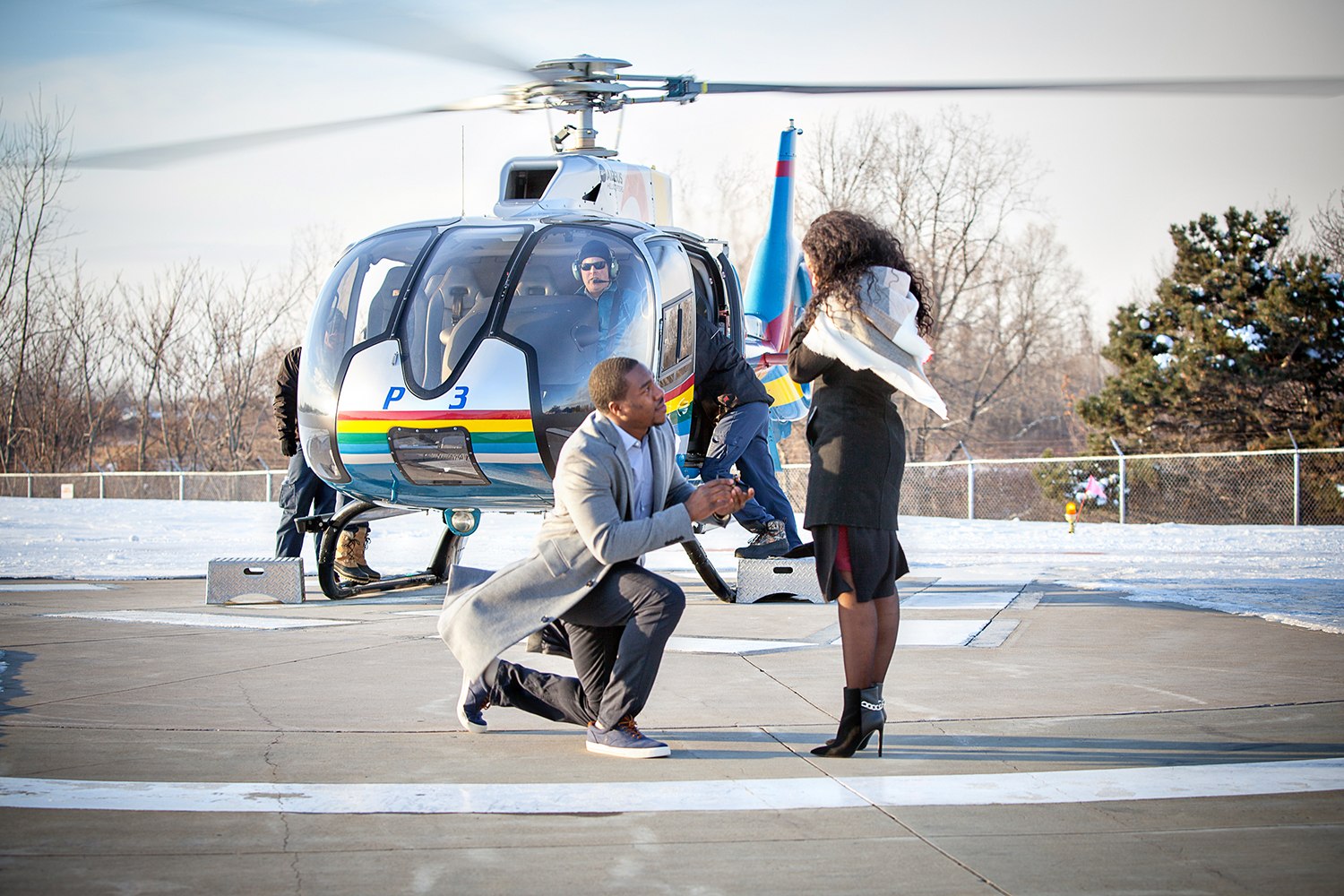 Surprise engagement at the Helicopter pad in Niagara Falls
